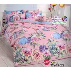 ผ้าปูที่นอนผ้านวมลายดอกไม้ โทนสีชมพู TT645 ชุดเครื่องนอน TOTO