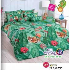 ผ้าปูที่นอนผ้านวมลายเสือในดงใบไม้ โทนสีเขียว TT650 ชุดเครื่องนอน TOTO