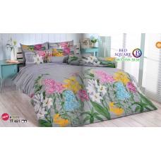 ผ้าปูที่นอนผ้านวมลายดอกไม้ใหญ่ โทนสีเทา TT651 ชุดเครื่องนอน TOTO