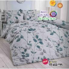ผ้าปูที่นอนผ้านวมลายใบไม้ โทนสีเทาอ่อน TT652 ชุดเครื่องนอน TOTO