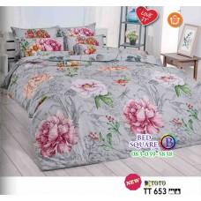 ผ้าปูที่นอนผ้านวมลายดอกไม้ โทนสีเทา TT653ชุดเครื่องนอน TOTO
