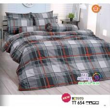 ผ้าปูที่นอนผ้านวมลายสก๊อต โทนสีดำ เทา TT654 ชุดเครื่องนอน TOTO