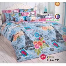 ผ้าปูที่นอนผ้านวมลายอังกฤษ ฝรั่งเศษ ไอเฟล Eiffel Tower ยุโรป อิตาลี โทนสีฟ้า TT657 ชุดเครื่องนอน TOTO