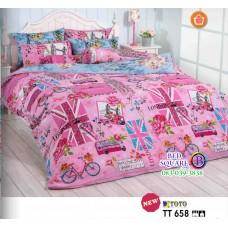 ผ้าปูที่นอนผ้านวมลายบ้านเมืองต่างประเทศ โทนสีชมพู TT658 ชุดเครื่องนอน TOTO