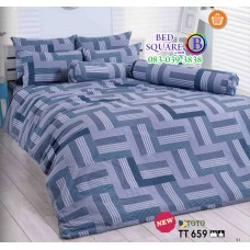 ผ้าปูที่นอนผ้านวมลายตารางสีเหลี่ยม โทนสีเทา TT659 ชุดเครื่องนอน TOTO