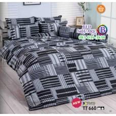 ผ้าปูที่นอนผ้านวมลายตารางสีเหลี่ยม โทนสีเทา ดำ TT660 ชุดเครื่องนอน TOTO