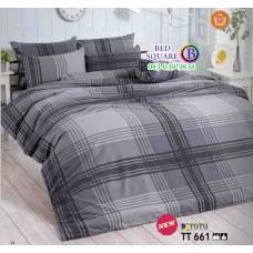 ผ้าปูที่นอนผ้านวมลายตาราง โทนสีเทาเข้ม TT661 ชุดเครื่องนอน TOTO