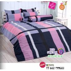 ผ้าปูที่นอนผ้านวมลายตาราง โทนสีน้ำเงิน ชมพู TT662 ชุดเครื่องนอน TOTO