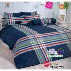 ผ้าปูที่นอนผ้านวมลายตาราง โทนสีน้ำเงิน TT663 ชุดเครื่องนอน TOTO