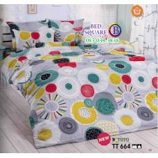 ผ้าปูที่นอนผ้านวมลายวงกลมใหญ่ โทนสีเทา เขียว ขาว TT664 เครื่องนอน TOTO