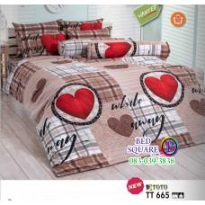ผ้าปูที่นอนผ้านวมลายหัวใจสีแดง โทนสีน้ำตาล TT665 ชุดเครื่องนอน TOTO