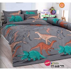 ผ้าปูที่นอนผ้านวมลายการ์ตูนไดโนเสาร์ โทนสีเทาเข้ม TT668 ชุดเครื่องนอน TOTO