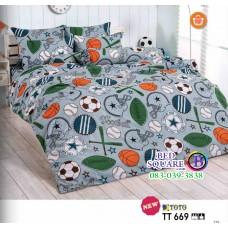 ผ้าปูที่นอนผ้านวมลายลูกบอล โทนสีเทา TT669 ชุดเครื่องนอน TOTO
