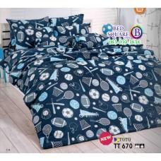 ผ้าปูที่นอนผ้านวมลายลูกบอล โทนสีน้ำเงิน TT670 ชุดเครื่องนอน TOTO