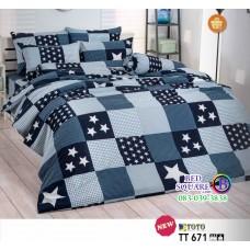 ผ้าปูที่นอนผ้านวมลายตารางสี่เหลี่ยมรูปดาว โทนสีเทา น้ำเงิน TT671 ชุดเครื่องนอน TOTO