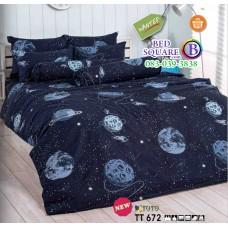 ผ้าปูที่นอนผ้านวมลายรูปดาวอังคาร โทนสีดำ TT672 ชุดเครื่องนอน TOTO