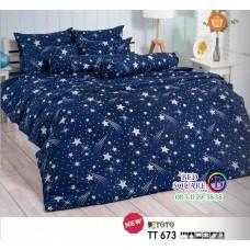 ผ้าปูที่นอนผ้านวมลายรูปดาวตก โทนสีน้ำเงิน TT673 ชุดเครื่องนอน TOTO