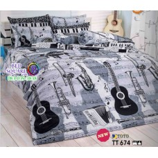 ผ้าปูที่นอนผ้านวมลายเครื่องดนตรีกีตาร์ โทนสีดำ ขาว เทา TT674 ชุดเครื่องนอน TOTO
