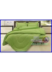 Fair Lady ผ้าปูที่นอนผ้านวมสีพื้น สีเขียวใบตองขอบเข้ม สองสีทูโทน FL21