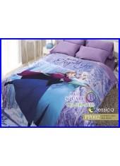 ผ้าปูที่นอนผ้านวม กันไรฝุ่น กันภูมิแพ้ Cotton 100 % ลายเอลซ่า โฟรเซ่น Elsa Frozen PP002 สีม่วง Jessica