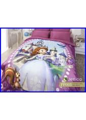ผ้าปูที่นอนผ้านวม กันไรฝุ่น กันภูมิแพ้ Cotton 100 % ลาย Sofia The First PP003 สีชมพู Jessica