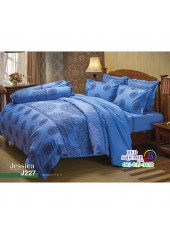 ชุดเครื่องนอนลายกราฟฟิค พื้นสีฟ้า Jessica ผ้าปูที่นอน ผ้านวมเจสสิก้า J227