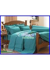 ผ้าปูที่นอนผ้านวมสีพื้น Jessica สีเขียวเทอร์ควอยซ์ กันแบคทีเรีย ไรฝุ่น สำหรับคนเป็นภูมิแพ้ J-GREEN