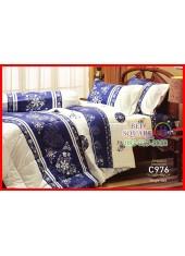 ผ้าปูที่นอนผ้านวม Cotton 100% ลายกราฟฟิกดอกไม้ สีนำ้เงิน ขาว กันไรฝุ่น กลิ่นอับ ภูมิแพ้ Jessica