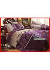 ผ้าปูที่นอนผ้านวม Cotton 100% ลายกราฟฟิกดอกไม้ สีม่วง เทา กันไรฝุ่น กลิ่นอับ ภูมิแพ้ Jessica