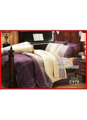 ผ้าปูที่นอนผ้านวม Cotton 100% ลายกราฟฟิก สีม่วง เหลือง กันไรฝุ่น กลิ่นอับ ภูมิแพ้ Jessica