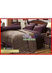 ผ้าปูที่นอนผ้านวม Cotton 100% ลายกราฟฟิก โทนนำ้ตาล แดงม่วง กันไรฝุ่น กลิ่นอับ ภูมิแพ้ Jessica