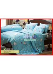 ผ้าปูที่นอนผ้านวม Cotton 100% ลายการ์ตูน แมวน่ารัก สีฟ้า กันไรฝุ่น กลิ่นอับ ภูมิแพ้ Jessica
