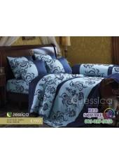 ชุดเครื่องนอนลายกราฟฟิคพื้นสีฟ้า ขอบน้ำเงิน Jessica ผ้าปูที่นอน ผ้านวม Cotton 100% เจสสิก้า C995