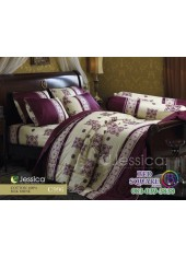 ชุดเครื่องนอนลายกราฟฟิคพื้นสีครีมเหลือง ขอบม่วง Jessica ผ้าปูที่นอน ผ้านวม Cotton 100% เจสสิก้า C996