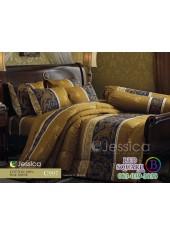ชุดเครื่องนอนลายกราฟฟิคพื้นสีทอง คาดน้ำเงิน Jessica ผ้าปูที่นอน ผ้านวม Cotton 100% เจสสิก้า C997