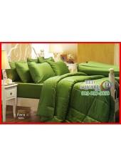 ผ้าปูที่นอนผ้านวม Cotton 100% สีพื้นเขียวเฟิร์น Fern กันไรฝุ่น สำหรับคนเป็นภูมิแพ้ Jessica