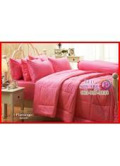ผ้าปูที่นอนผ้านวม Cotton 100% สีพื้นชมพู Flamingo กันไรฝุ่น สำหรับคนเป็นภูมิแพ้ Jessica