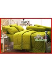 ผ้าปูที่นอนผ้านวม Cotton 100% สีพื้นเขียวมอส Moss กันไรฝุ่น สำหรับคนเป็นภูมิแพ้ Jessica