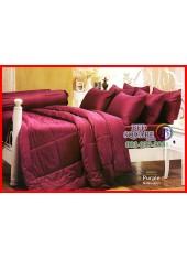 ผ้าปูที่นอนผ้านวม Cotton 100% สีพื้นเปลือกมังคุด Purple กันไรฝุ่น สำหรับคนเป็นภูมิแพ้ Jessica