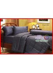 ผ้าปูที่นอนผ้านวม Cotton 100% สีพื้นริ้วน้ำเงินเข้ม Navy กันไรฝุ่น สำหรับคนเป็นภูมิแพ้ Jessica