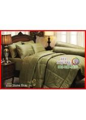 ผ้าปูที่นอนผ้านวม Cotton 100% สีพื้นริ้วเทา Stone Gray กันไรฝุ่น สำหรับคนเป็นภูมิแพ้ Jessica