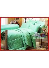 ผ้าปูที่นอนผ้านวม Cotton 100% สีพื้นเขียวเทอร์ควอยซ์ Turquoise กันไรฝุ่น สำหรับคนเป็นภูมิแพ้ Jessica