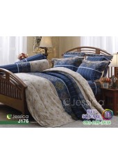 ชุดเครื่องนอนลายกราฟฟิค น้ำเงิน ทอง ขาว Jessica ผ้าปูที่นอน ผ้านวมเจสสิก้า J176