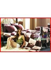 ผ้าปูที่นอนผ้านวม กันไรฝุ่น แบคทีเรีย ลายตารางน้ำตาลขาว Jessica