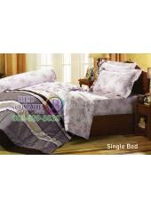 ผ้าปูที่นอนผ้านวม กันไรฝุ่น แบคทีเรีย ลายใบไม้โทนน้ำตาลพื้นอ่อน Jessica
