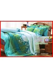 ผ้าปูที่นอนผ้านวม กันไรฝุ่น แบคทีเรีย ลายเถาสีเขียวเทอควอยซ์ Jessica
