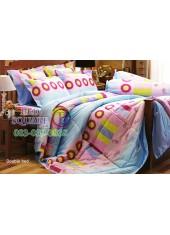 ผ้าปูที่นอนผ้านวม กันไรฝุ่น แบคทีเรีย ลายทางโดนัทสีชมพูฟ้า Jessica