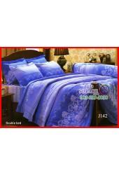ผ้าปูที่นอนผ้านวม กันไรฝุ่น สำหรับคนเป็นภูมิแพ้ ลายกราฟฟิคดอกกุหลาบ พื้นสีน้ำเงิน Jessica