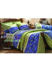 ผ้าปูที่นอนผ้านวม กันไรฝุ่น สำหรับคนเป็นภูมิแพ้ ลายจุดวงกลม พื้นสีน้ำเงิน เขียว Jessica