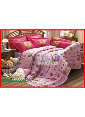 ผ้าปูที่นอนผ้านวม กันไรฝุ่น กันภูมิแพ้ ลายริลัคคุมะ Rilakkuma RK001 พื้นสีชมพู Jessica